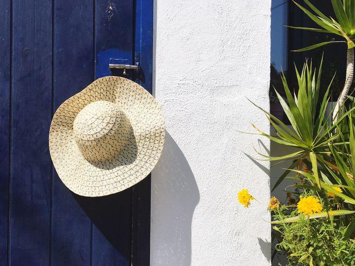 Hat Hanging On Closed Wooden Door