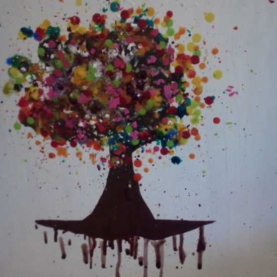 Artclass Crayons Melt Fun art tree dots