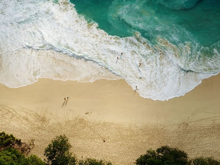 ocean vibes, summer feelings Dronephotography Ocean Sandy Beach Tropical Aerial Seascape people and places Vacations Island Blue Wave Waves Naturephotography Nature Tree Landscape Sand Dune Coast Sand FootPrint Beach Shore Tide