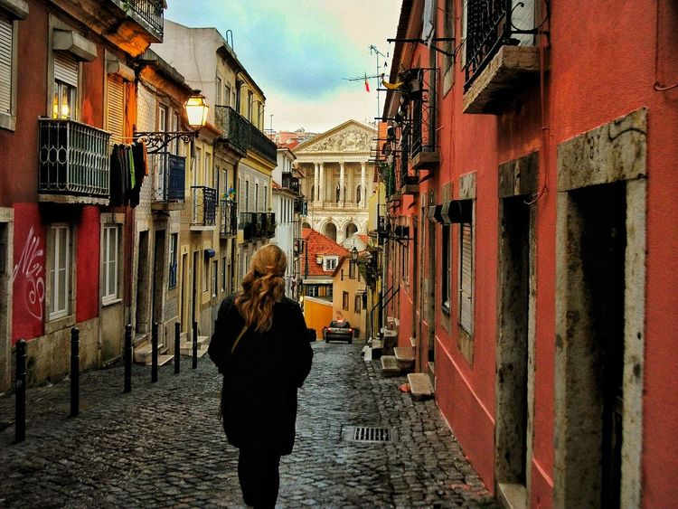 My mom. Building Exterior Colours Amazing Photo Architecture Built Structure Outdoors Day Rear View One Person Sky Blue Loveworld Beautiful View EyEmNewHere Loveit Landscape Cityscape City Life Street Lisbon, Portugal Lisbon Streets Sunset J•Gabri-zet Women Backgrounds presso Lisbona