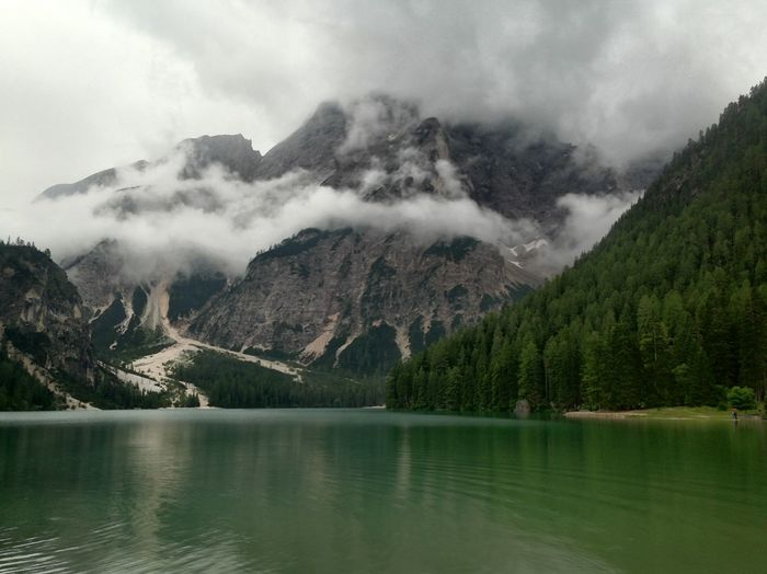 #dolomites Beauty In Nature Calm Cloud Cloud - Sky Cloudy Day Idyllic Lake Majestic Mountain Mountain Range Nature Non-urban Scene Outdoors Reflection Remote Scenics Sky Surrounding Tranquil Scene Tranquility View Into Land Water Waterfront