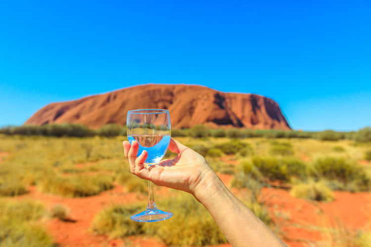Cropped hand holding wineglass against mountain