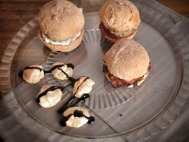 Vegetarian Burgers with Sugo and Cremefraiche Aioli and Chili  Buns and Potato Patties as well as Potato Crisps
