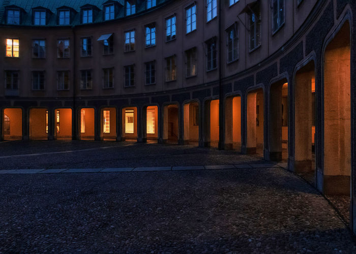 Architecture Built Structure Building Exterior Illuminated Building Architectural Column No People In A Row Night City Travel Destinations Direction Lighting Equipment Empty Place Of Worship The Way Forward Pattern Outdoors Religion Colonnade Brantingtorget Gamla Stan Midnight Oil