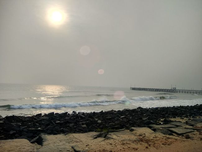 Pondicherry RockBeach French Colony Sea Beach Water Beauty In Nature Nature Sun Tranquility Horizon Over Water Sunlight No People Scenics Sand Outdoors Sky Day