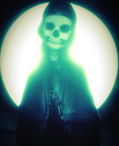 """Our Lady of Perpetual Dramatically Lit Moments"" (2015) Oddities Odd But Beautiful Odd Dark Art Just For Fun Silly Shits And Gigs Skeleton Dead Things Fake Saints fakes Anti-saint"