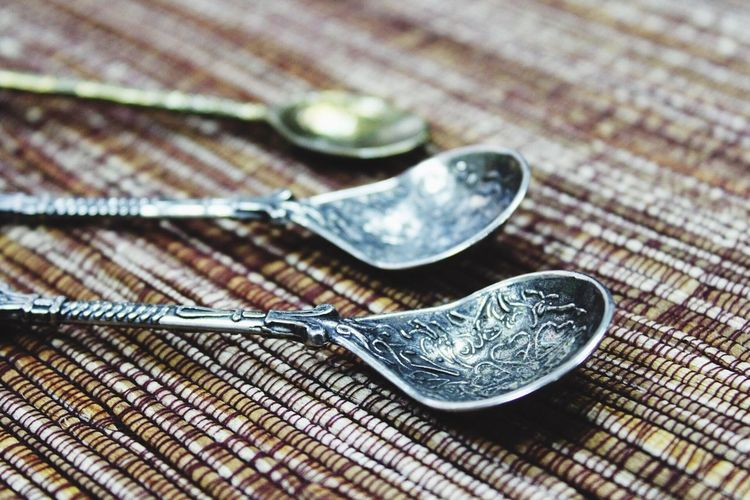 Close-up of spoon on table