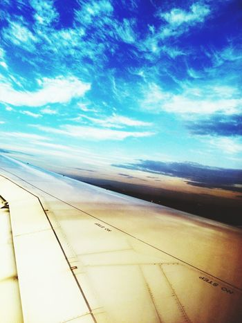 Somwhere In The Airplane Wing Of Plane Blue Sky Clouds Landscape Airplane Flying To Germany Smartphone Photography