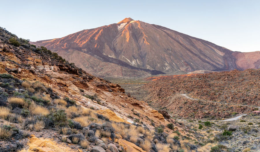 Teide National Park Arid Climate Beauty In Nature Clear Sky Climate Day Environment Formation Geology Land Landscape Mountain Mountain Peak Mountain Range Nature No People Non-urban Scene Outdoors Physical Geography Remote Rock Scenics - Nature Sky Teide Tranquil Scene Tranquility Travel Destinations Volcano The Great Outdoors - 2018 EyeEm Awards The Traveler - 2018 EyeEm Awards