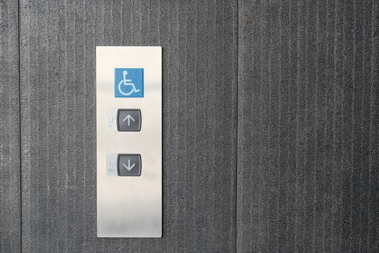 Close up of elevator buttons