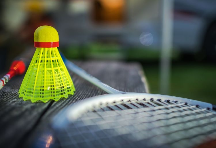 Close-up of badminton racket