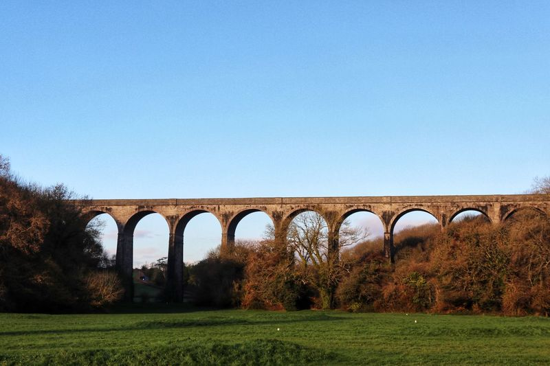 Arch Viaduct Bridge - Man Made Structure Connection Architecture Clear Sky Copy Space Transportation Day No People Built Structure Nature Landscape Outdoors Grass Sky Wales Railway