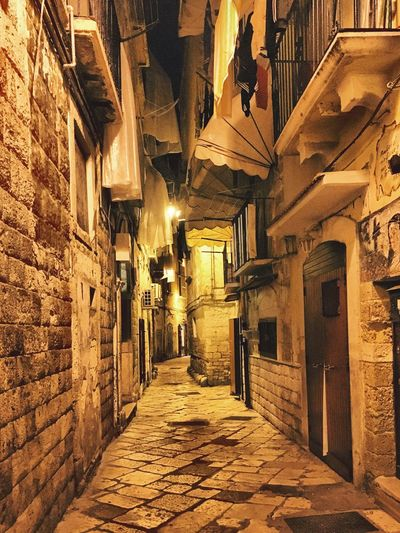 Architecture Built Structure Building Exterior Residential Building The Way Forward No People Tranquil Scene Empty Street Night Lights Sneaky Narrow Narrow Street Small Street Balkony