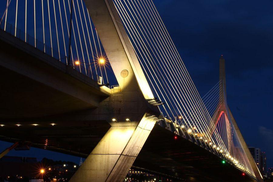 Zakim Bridge, Boston Zakim Bunker Hill Memorial Bridge Zakim Bridge Connection Bridge - Man Made Structure Architecture Illuminated Suspension Bridge Engineering The Graphic City