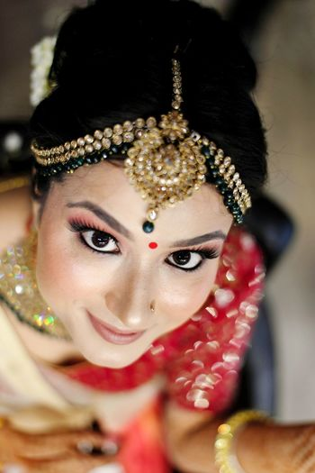 Portrait of bride during wedding ceremony