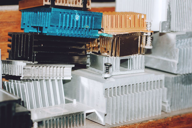 Close-up of obsolete machine parts