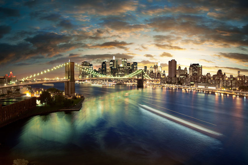New York City Brooklyn Bridge at sunset. Brooklyn Brooklyn Bridge  Brooklyn Bridge / New York Manhattan NYC, New New York USA York Architecture Boat Bridge - Man Made Structure Brooklynbridge City Cityscape Cloud - Sky Night Outdoors River Sky Skyscraper Sunset Travel Destinations Water first eyeem photo