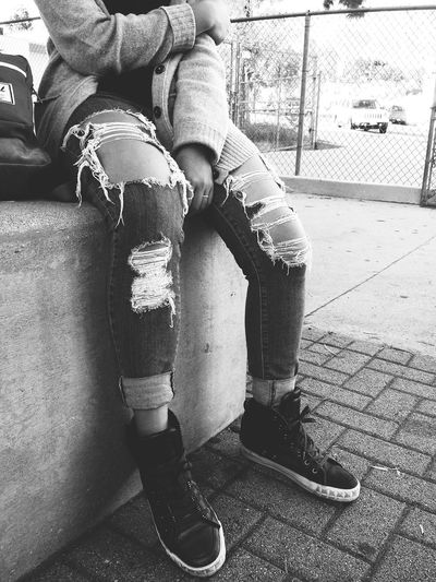 Street Style Street Ripped Jeans Black And White
