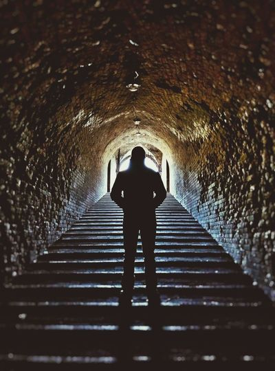 People And Places Kiev Ukraine Tunnel Steps Silhouette Low Angle View Dark Underground Walkway The Way Forward Steps And Staircases Indoors  Arch Staircase Light At The End Of The Tunnel Weathered Stone Material