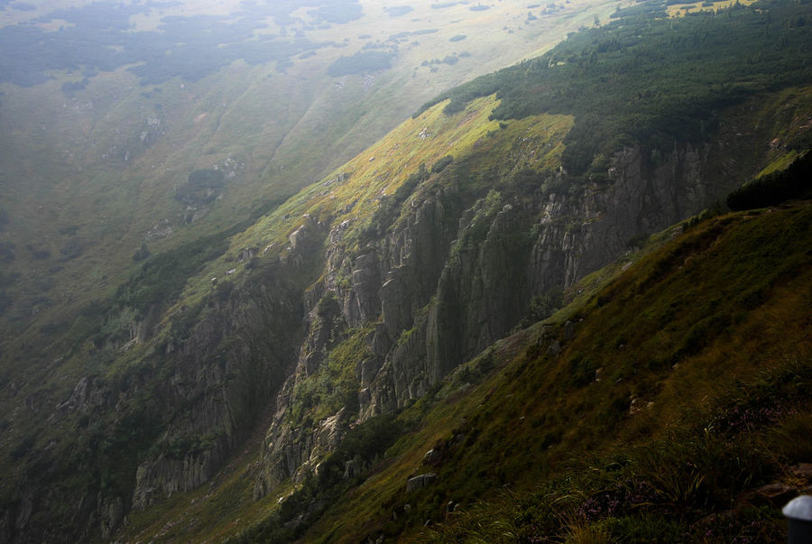 Sun shining on the slope of the cirque. Cloudy Hiking Karkonosze Misty Mountain Trail Mountain View Sudety Trekking Beams Of Light Beauty In Nature Cirque Cliff Day Hiking Adventures Hiking Trail Landscape Love Mountains Mistery Atmosphere Mountain Nature No People Outdoors Rocks Slope Steep