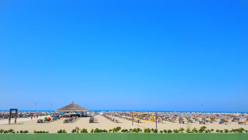 Outdoors Blue Clear Sky Day Sky Nature Summer Beach Sea Umbrella Sand Vecation Nikon D3200 EyeEm Summer