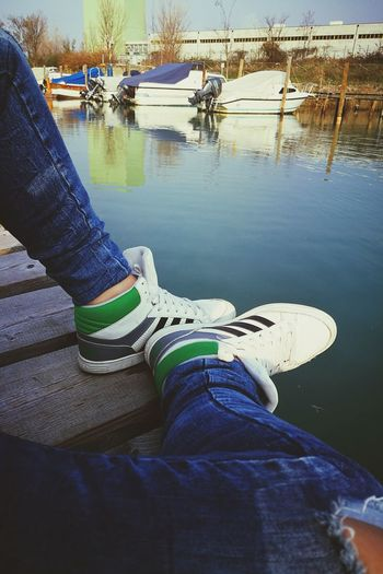 Chill Adidas Adidas Originals Adidasneo Neo Human Body Part Human Leg Human Limb Low Section Jeans One Person Women Outdoors Day Water Adult Reflection Shoe
