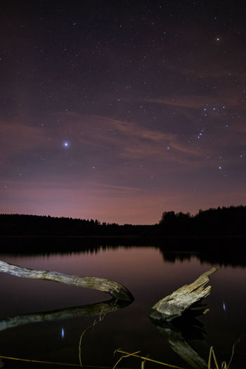 Another night on MY lake... Beauty In Nature EyeEm Best Shots Lake Landscape Long Exposure Milky Way Night Nightphotography Reflection Space Star Star - Space Star Field Tranquility Tree Water