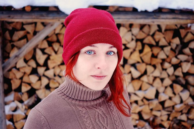 Portrait of senior woman wearing hat