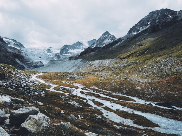 Mountain Beauty In Nature Snow Nature Cold Temperature Sky Landscape Outdoors Winter Day No People Scenics Water Scale  River Switzerland People Glacier Breathing Space Lost In The Landscape