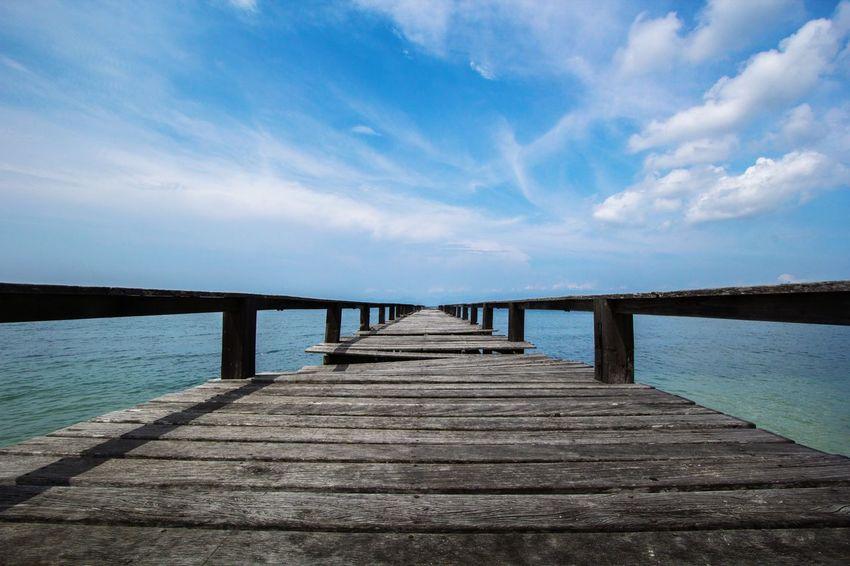 Sky Landscape Water Sea Beach Horizon Jetty Bridge - Man Made Structure Blue Wood - Material Sand Pier Island