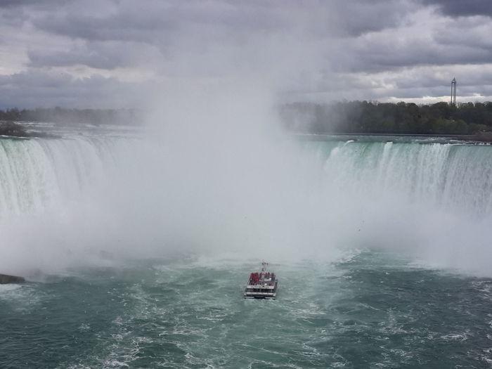 Niagara Falls Against Cloudy Sky