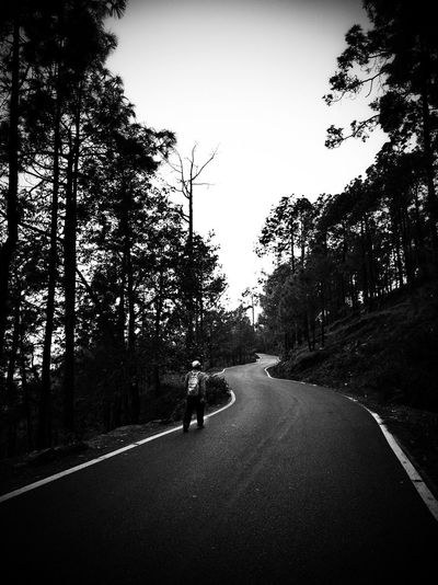 One Step at A Time EyeEm Best Shots Gpmzn Leica Photography. Beauty In Nature Great Morning Lonely Silo People Photography Leading Lines Tree Silhouette Sky Empty Road vanishing point Diminishing Perspective Country Road The Way Forward Countryside Mountain Road Asphalt Passing Road Marking