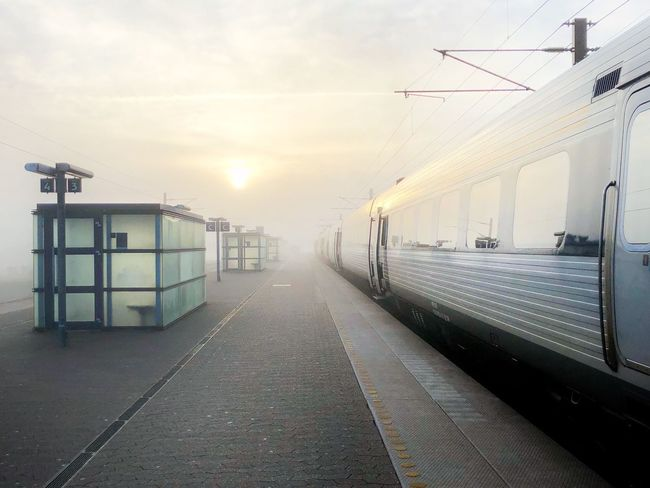 Transportation Rail Transportation Mode Of Transport Train - Vehicle Public Transportation Railroad Track Sky Railroad Station Platform Fog