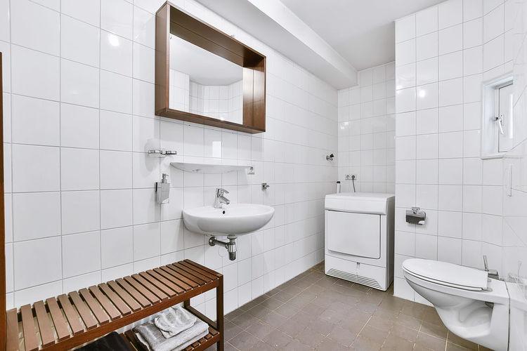 Empty corridor in bathroom
