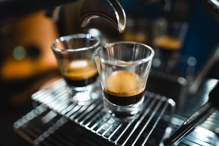 Close-up of coffee on espresso machine