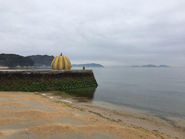 Naoshima Kagawa Yayoi Kusama Yellow Pumpkin Art Sea Sea And Sky Japan