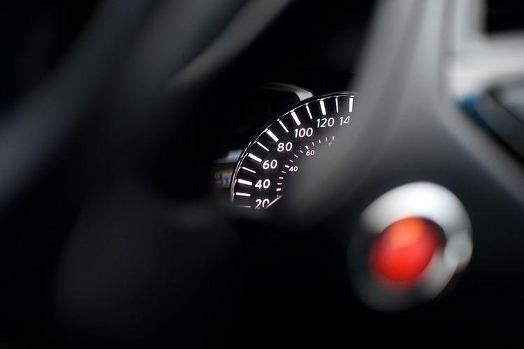 Close-up of illuminated speedometer in car