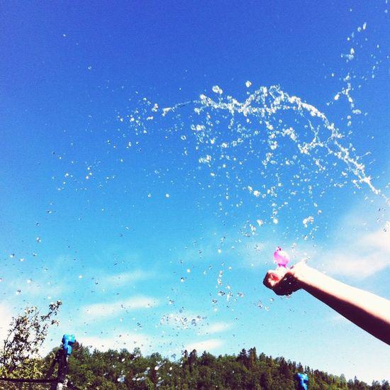 Summer Sun Water Pink Balloon Pink Ballon Pink Water Balloon Blue Sky