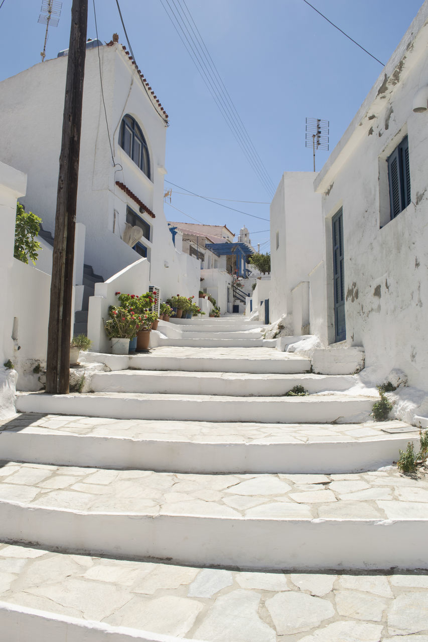 built structure, architecture, building exterior, steps, white color, day, steps and staircases, whitewashed, outdoors, no people, clear sky, sky