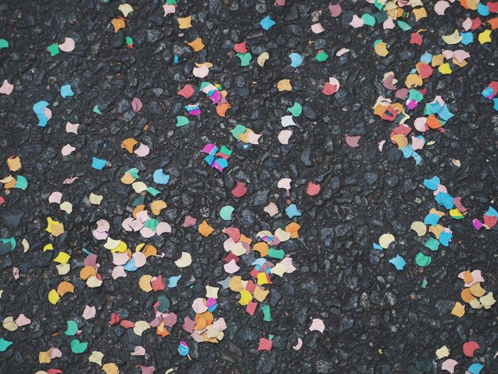 Confetti on the streets Berlin After Hours Konfetti Confetti On The Floor Berlin Open Air Party Multi Colored Confetti Backgrounds Abundance No People Day High Angle View Full Frame Street Outdoors City Pattern Road Celebration