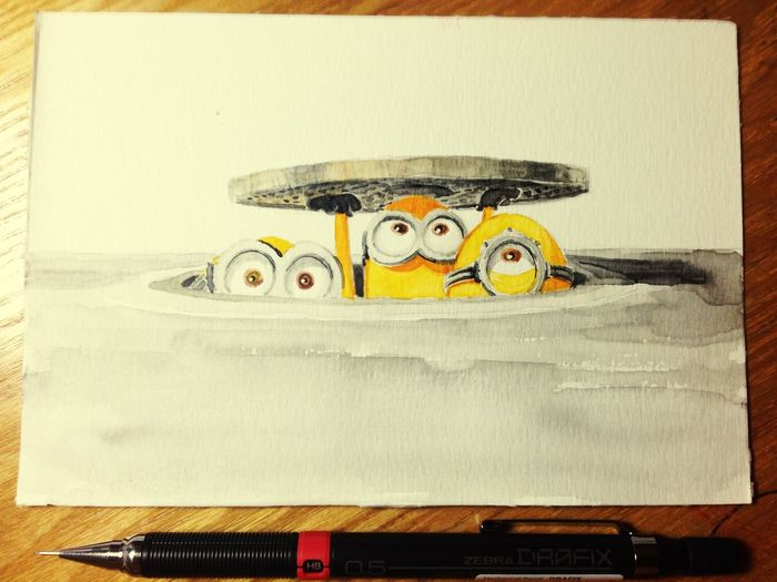 小黄人~~~ Drawing Minions Watercolor China Guangzhou