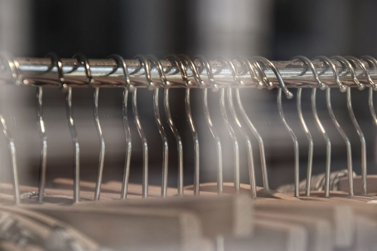 Close-up of hangers