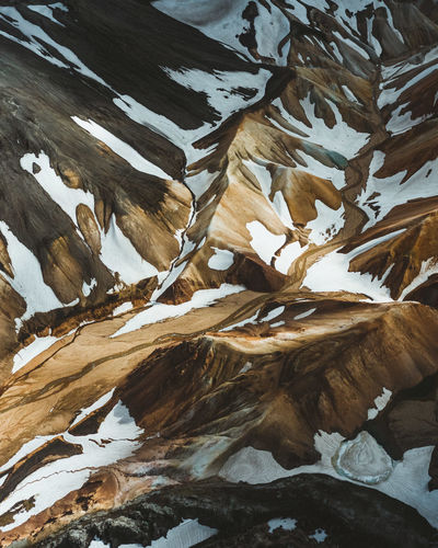 High angle view of frozen leaves on snowcapped landscape