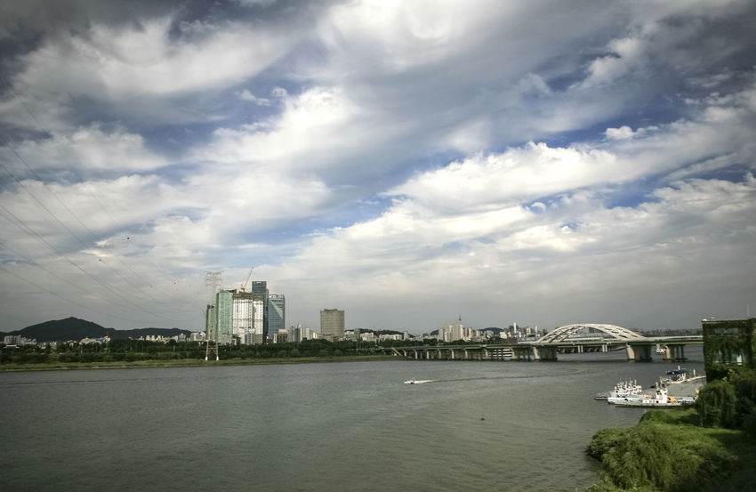 Architecture Building Exterior Built Structure City Cityscape Cloud Cloud - Sky Cloudy Han River Hangang Nature No People Outdoors Residential Building Residential District Residential Structure River Scenics Sea Seonyoudo Sky Water Waterfront Yanghwadaegyo