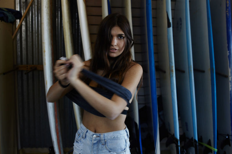 Adult Adults Only Beautiful Woman Beauty Brown Hair Indoors  Looking At Camera Night One Person One Woman Only One Young Woman Only Only Women People Portrait Standing Weapon Young Adult Young Women