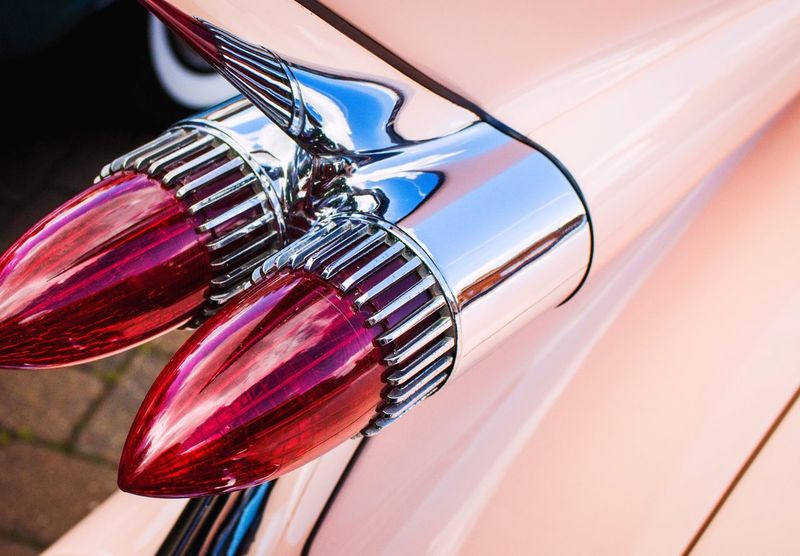 No People Close-up Day Multi Colored Cars Ilkeston Car Show American Cars Retro Pink Car Outdoors Land Vehicle Mode Of Transport Car Transportation Styling Tail Light Lights Rear Lights Abstract Photography Details Car Show