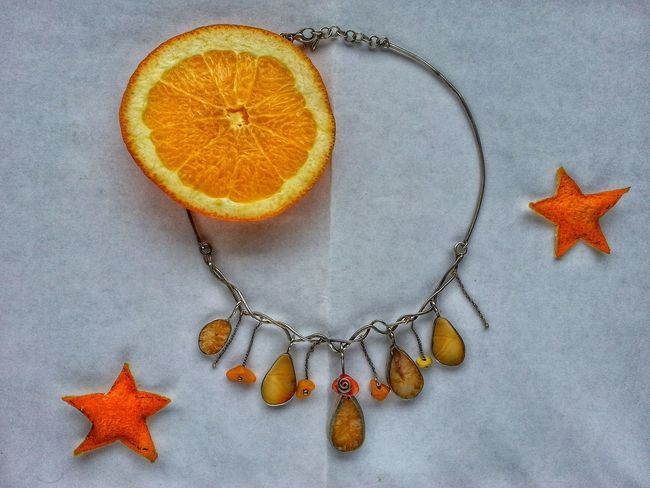 Necklace Agate Stone Orange - Fruit Christmas Decoration EyeEm Selects Studio Shot Orange Color Shape High Angle View Indoors  No People Close-up