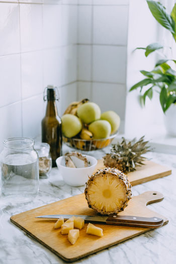 Fruits and vegetables on cutting board