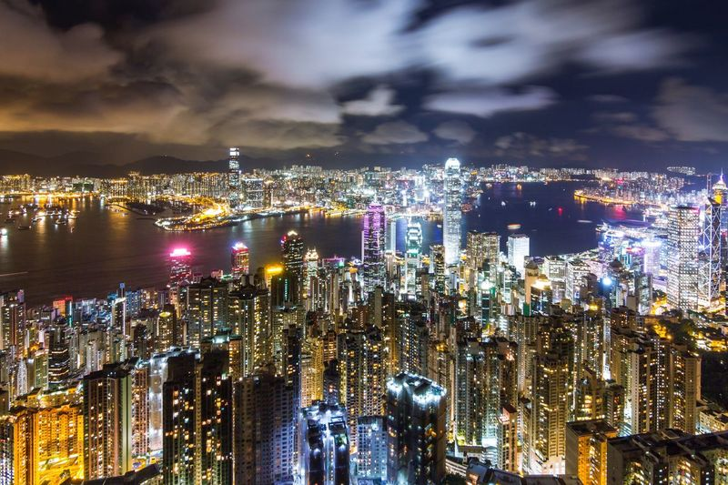 Beautiful night of Hong Kong, pearl of oriental City Cityscape Architecture City Life Skyscraper Night