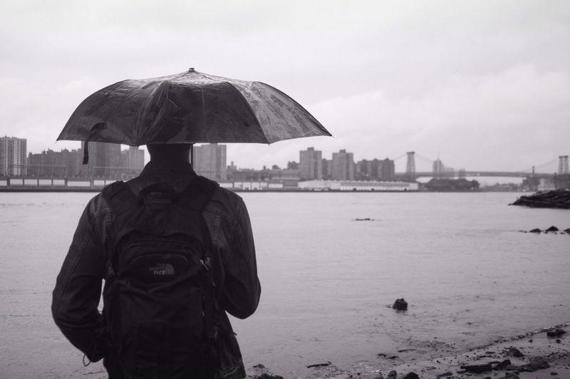 Under the rain Blackandwhite